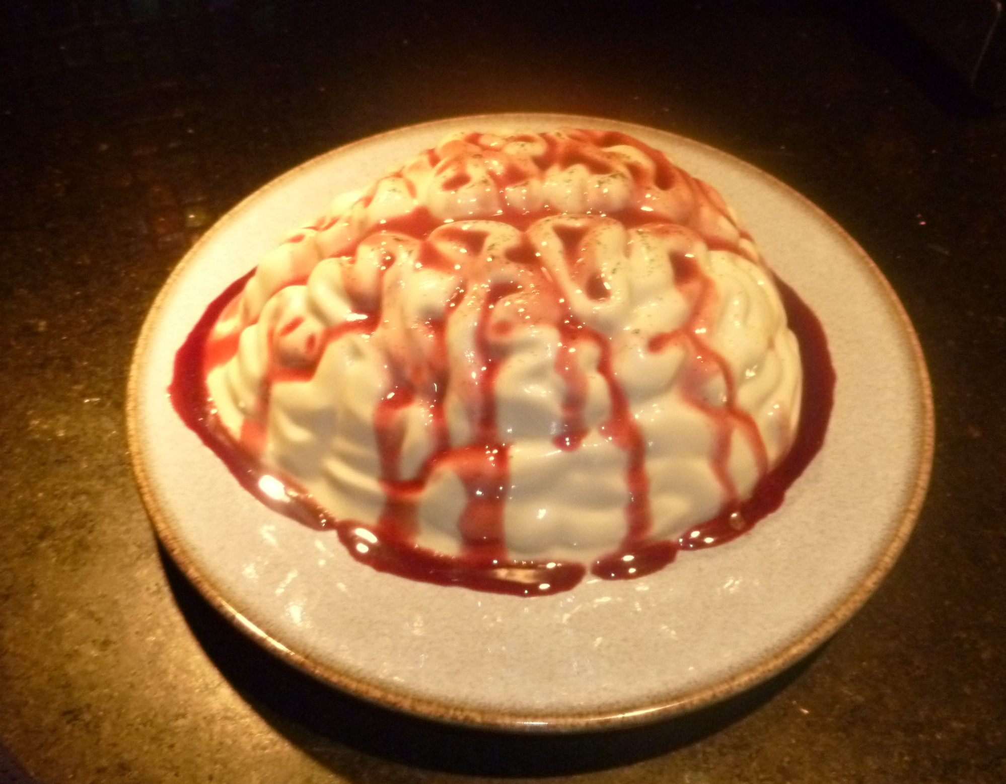 Homemade spooky halloween decorations - So Spooky So Sweet Brain Pudding With Raspberry Blood