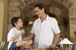 father and son in kitchen