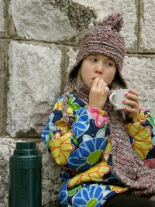 girl with thermos lunch