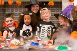 group of kids celebrating Halloween