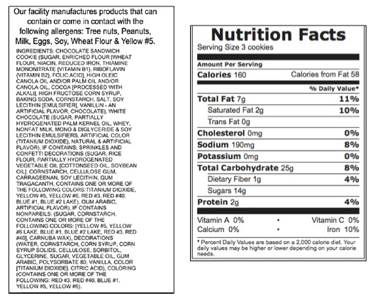 trade up nutrition-void snacks for healthy snacks — nutrition label oreo cookies